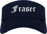 Fraser Michigan MI Old English Mens Visor Cap Hat Navy Blue