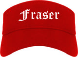 Fraser Michigan MI Old English Mens Visor Cap Hat Red