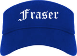 Fraser Michigan MI Old English Mens Visor Cap Hat Royal Blue