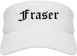 Fraser Michigan MI Old English Mens Visor Cap Hat White