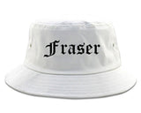 Fraser Michigan MI Old English Mens Bucket Hat White