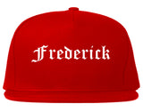Frederick Maryland MD Old English Mens Snapback Hat Red