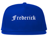 Frederick Maryland MD Old English Mens Snapback Hat Royal Blue