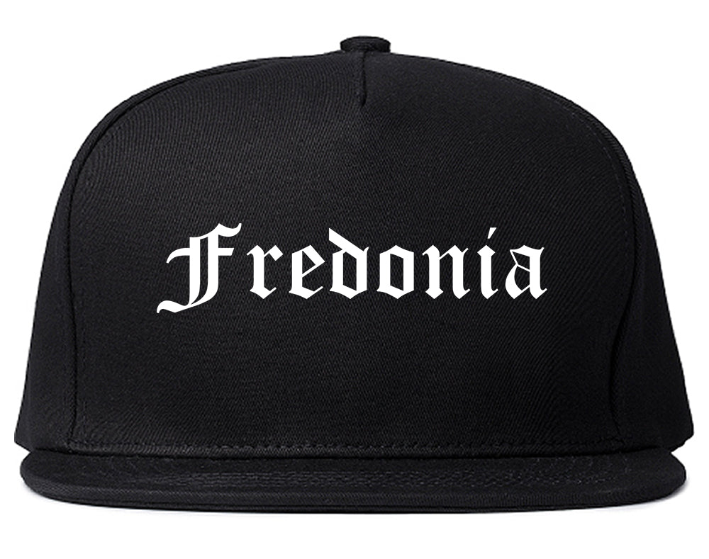 Fredonia New York NY Old English Mens Snapback Hat Black