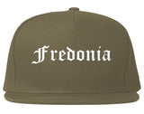 Fredonia New York NY Old English Mens Snapback Hat Grey