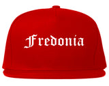 Fredonia New York NY Old English Mens Snapback Hat Red