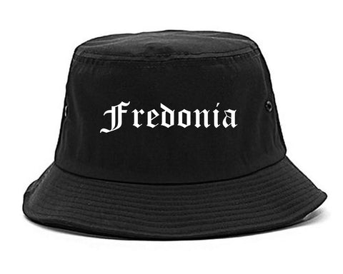 Fredonia New York NY Old English Mens Bucket Hat Black