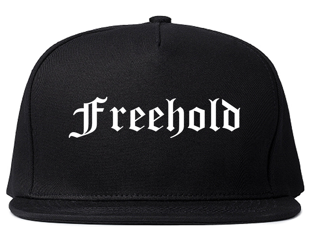 Freehold New Jersey NJ Old English Mens Snapback Hat Black