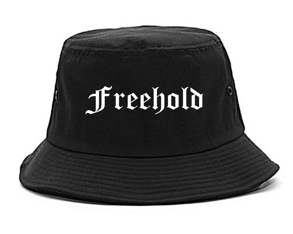 Freehold New Jersey NJ Old English Mens Bucket Hat Black