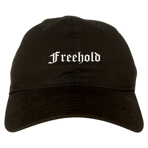 Freehold New Jersey NJ Old English Mens Dad Hat Baseball Cap Black