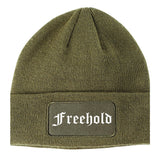 Freehold New Jersey NJ Old English Mens Knit Beanie Hat Cap Olive Green