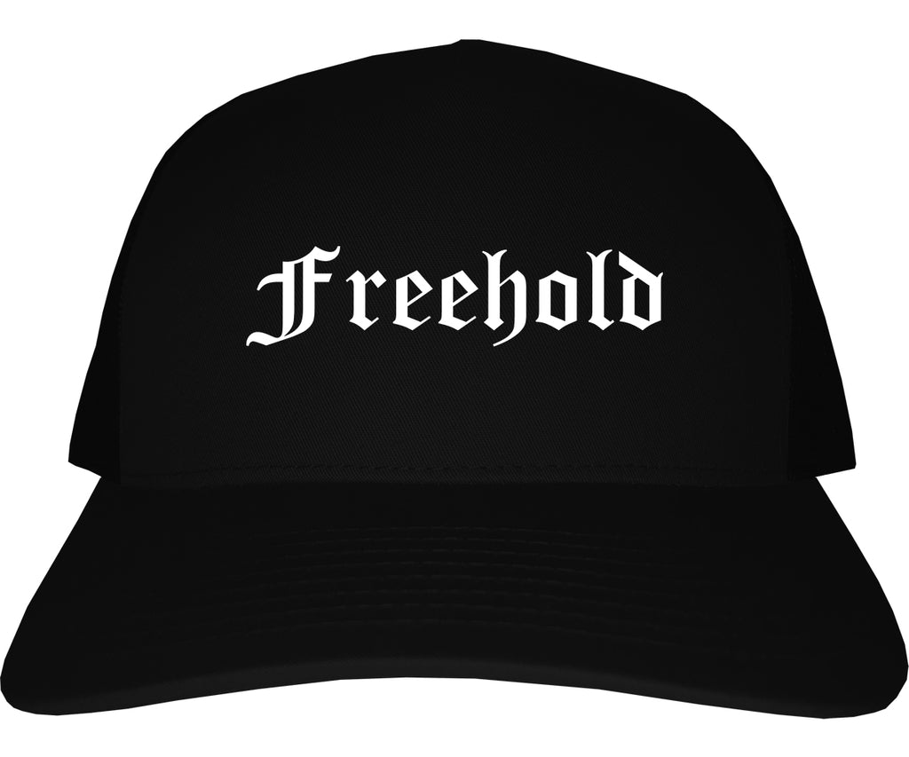 Freehold New Jersey NJ Old English Mens Trucker Hat Cap Black