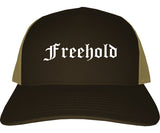 Freehold New Jersey NJ Old English Mens Trucker Hat Cap Brown