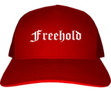 Freehold New Jersey NJ Old English Mens Trucker Hat Cap Red