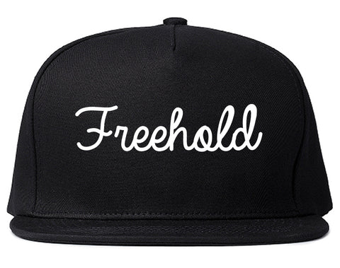 Freehold New Jersey NJ Script Mens Snapback Hat Black