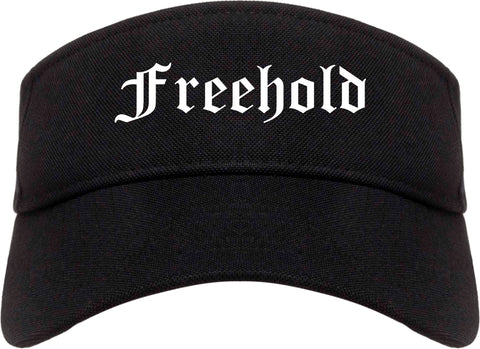Freehold New Jersey NJ Old English Mens Visor Cap Hat Black