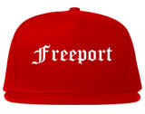 Freeport Illinois IL Old English Mens Snapback Hat Red
