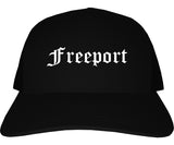 Freeport Illinois IL Old English Mens Trucker Hat Cap Black