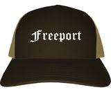 Freeport Illinois IL Old English Mens Trucker Hat Cap Brown