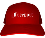Freeport Illinois IL Old English Mens Trucker Hat Cap Red