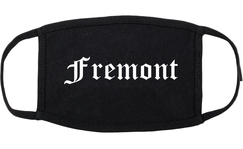 Fremont Nebraska NE Old English Cotton Face Mask Black