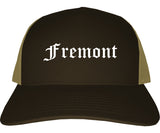 Fremont Ohio OH Old English Mens Trucker Hat Cap Brown