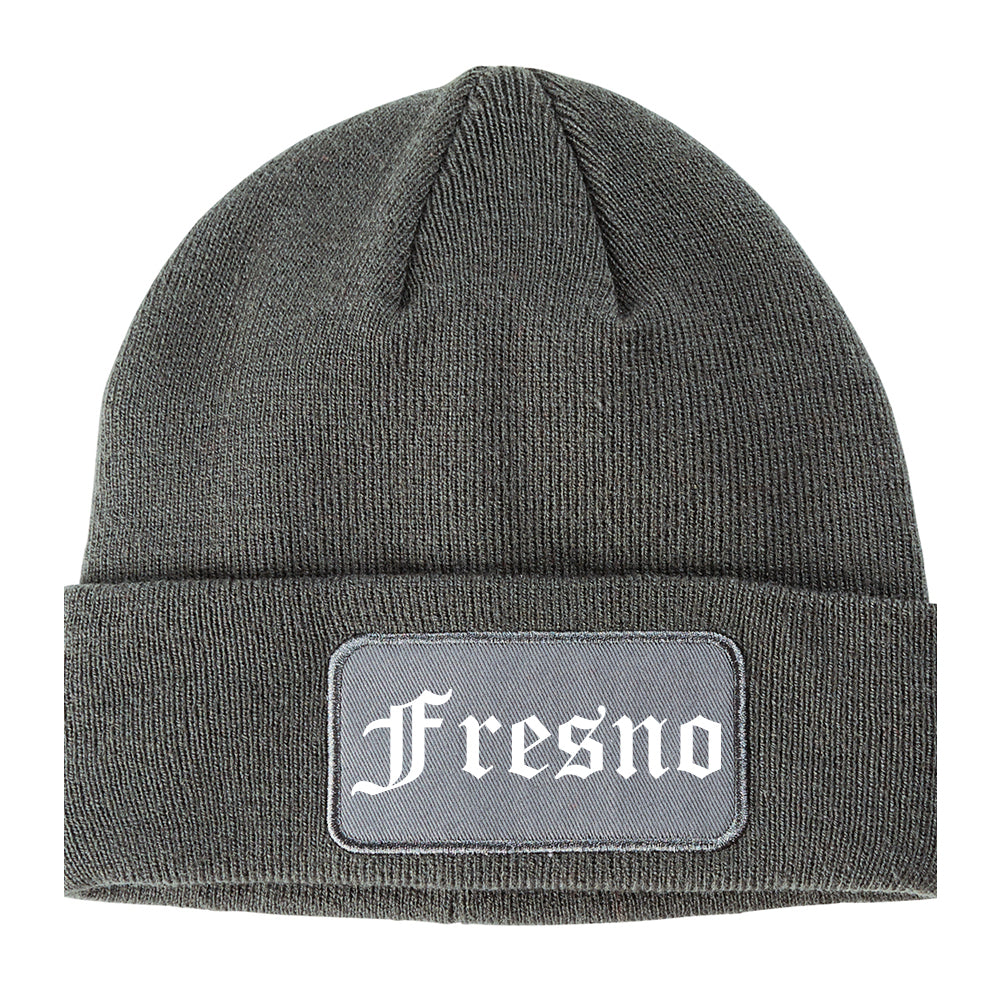 Fresno California CA Old English Mens Knit Beanie Hat Cap Grey