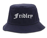 Fridley Minnesota MN Old English Mens Bucket Hat Navy Blue