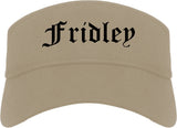 Fridley Minnesota MN Old English Mens Visor Cap Hat Khaki