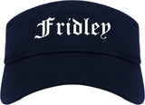 Fridley Minnesota MN Old English Mens Visor Cap Hat Navy Blue