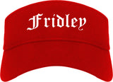 Fridley Minnesota MN Old English Mens Visor Cap Hat Red
