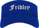 Fridley Minnesota MN Old English Mens Visor Cap Hat Royal Blue