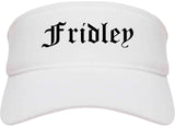 Fridley Minnesota MN Old English Mens Visor Cap Hat White