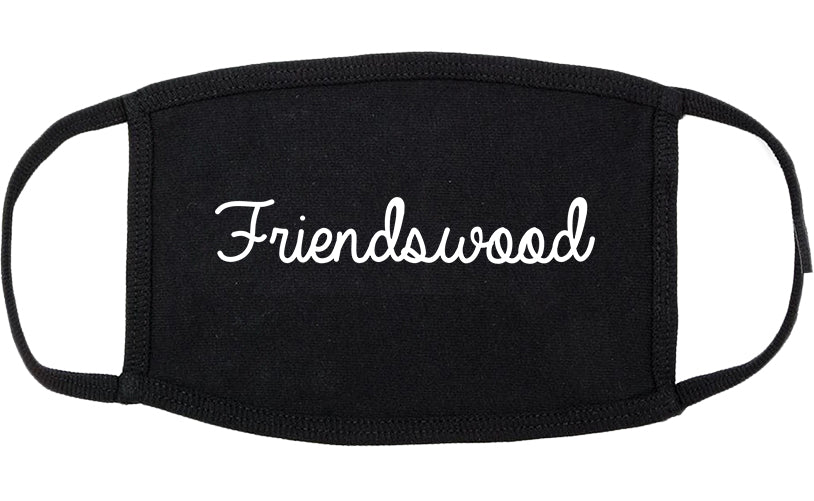 Friendswood Texas TX Script Cotton Face Mask Black