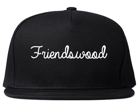 Friendswood Texas TX Script Mens Snapback Hat Black