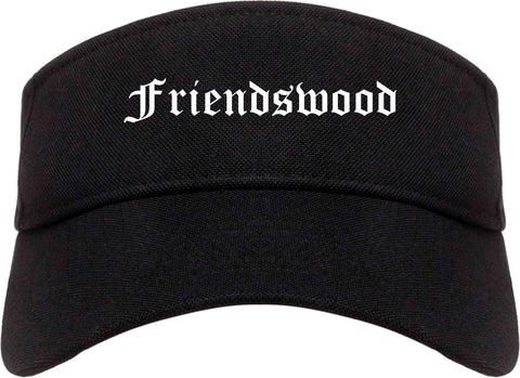 Friendswood Texas TX Old English Mens Visor Cap Hat Black