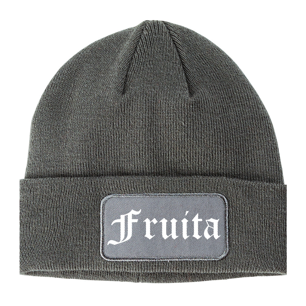 Fruita Colorado CO Old English Mens Knit Beanie Hat Cap Grey