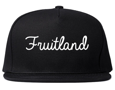 Fruitland Maryland MD Script Mens Snapback Hat Black