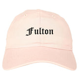 Fulton Missouri MO Old English Mens Dad Hat Baseball Cap Pink