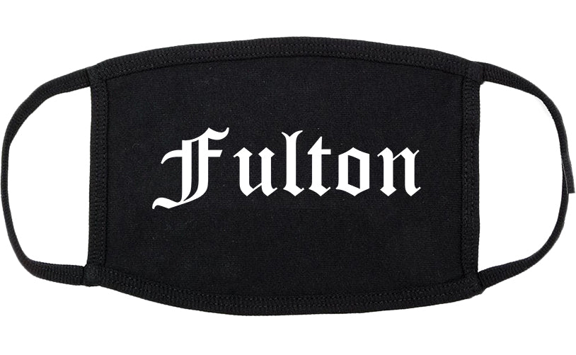 Fulton New York NY Old English Cotton Face Mask Black