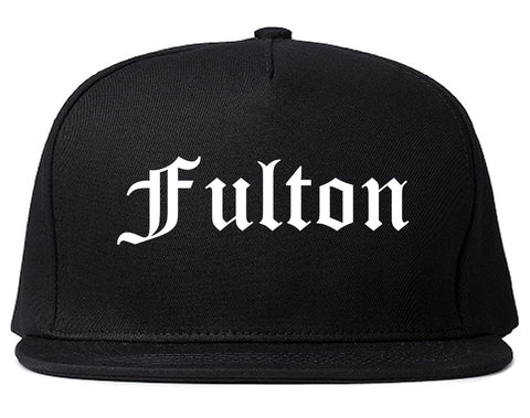 Fulton New York NY Old English Mens Snapback Hat Black