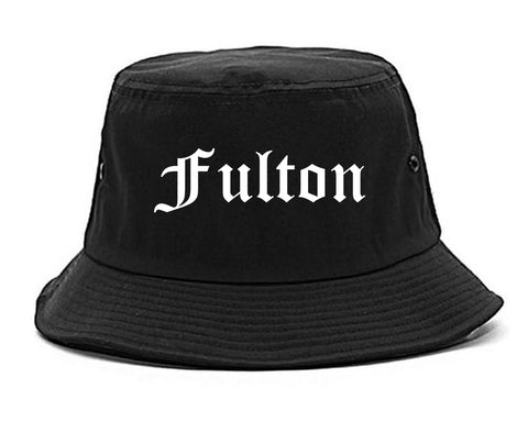 Fulton New York NY Old English Mens Bucket Hat Black