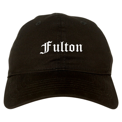 Fulton New York NY Old English Mens Dad Hat Baseball Cap Black