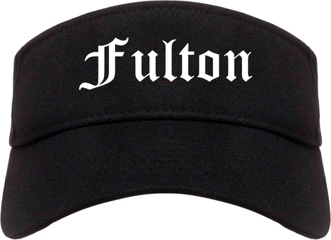 Fulton New York NY Old English Mens Visor Cap Hat Black