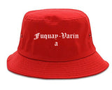 Fuquay Varina North Carolina NC Old English Mens Bucket Hat Red