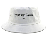 Fuquay Varina North Carolina NC Old English Mens Bucket Hat White