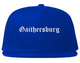 Gaithersburg Maryland MD Old English Mens Snapback Hat Royal Blue
