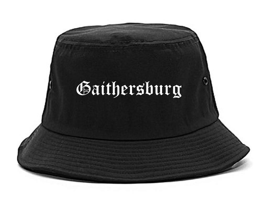 Gaithersburg Maryland MD Old English Mens Bucket Hat Black