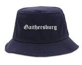 Gaithersburg Maryland MD Old English Mens Bucket Hat Navy Blue