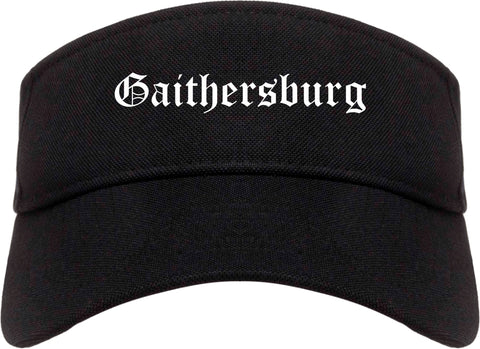 Gaithersburg Maryland MD Old English Mens Visor Cap Hat Black